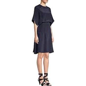 Derek Lam silk ruffle hem spring 2019 navy dress